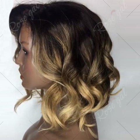 Discount Deep Side Part Short Loose Wavy Bob Colormix Lace Front Human Hair Wig - GOLDEN YELLOW  Mobile