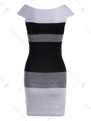 Outfit Striped Cape Sleeve Color Block Bandage Dress - ONE SIZE GRAY Mobile
