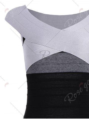 Online Striped Cape Sleeve Color Block Bandage Dress - ONE SIZE GRAY Mobile