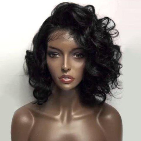 Online Deep Side Part Shaggy Short Loose Wave Lace Front Human Hair Wig - NATURAL BLACK  Mobile