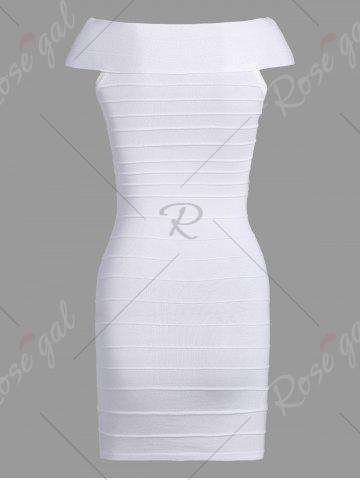 Shops Striped Cape Sleeve Color Block Bandage Dress - ONE SIZE WHITE Mobile