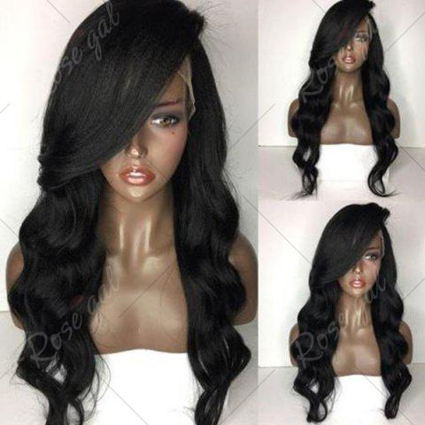 New Side Part Long Body Wave Lace Front Human Hair Wig - NATURAL BLACK  Mobile