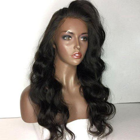 Outfit Long Side Part Shaggy Body Wave Lace Front Human Hair Wig - NATURAL BLACK  Mobile