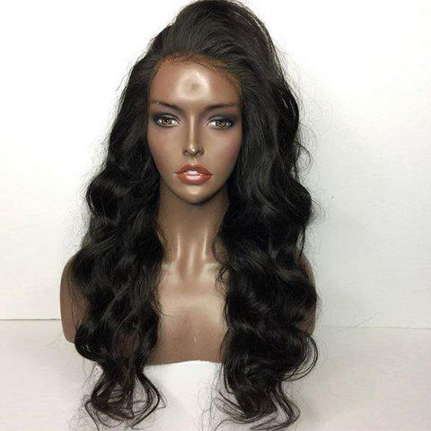 Chic Long Side Part Shaggy Body Wave Lace Front Human Hair Wig - NATURAL BLACK  Mobile