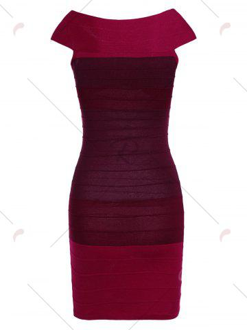 Discount Striped Cape Sleeve Color Block Bandage Dress - ONE SIZE RED Mobile