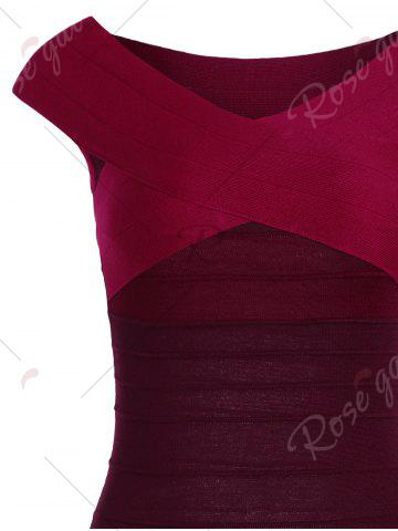 Buy Striped Cape Sleeve Color Block Bandage Dress - ONE SIZE RED Mobile
