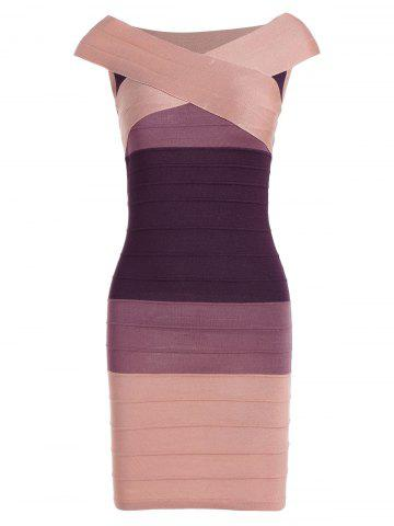 Striped Cape Sleeve Color Block Bandage Dress - Pink - One Size