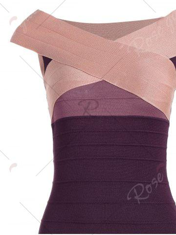 Outfit Striped Cape Sleeve Color Block Bandage Dress - ONE SIZE PINK Mobile