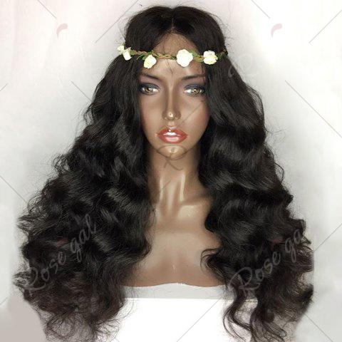 Online Long Free Part Shaggy Loose Body Wave Lace Front Human Hair Wig - NATURAL BLACK  Mobile