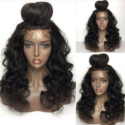 Outfit Long Free Part Shaggy Loose Body Wave Lace Front Human Hair Wig - NATURAL BLACK  Mobile