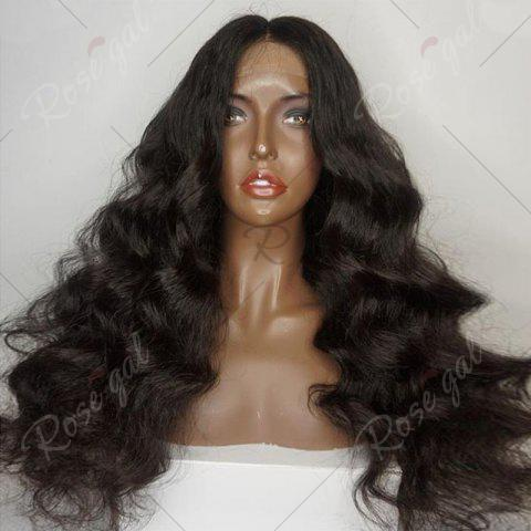 Discount Long Free Part Shaggy Loose Body Wave Lace Front Human Hair Wig - NATURAL BLACK  Mobile
