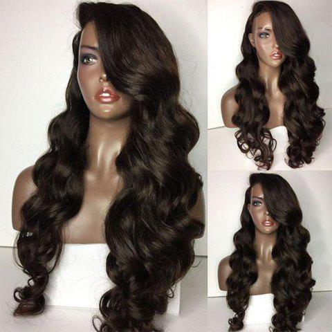 Discount Long Side Parting Loose Body Wave Lace Front Human Hair Wig NATURAL BLACK
