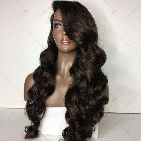 Unique Long Side Parting Loose Body Wave Lace Front Human Hair Wig - NATURAL BLACK  Mobile