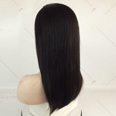Outfit Long Center Part Straight Lace Front Human Hair Wig - NATURAL BLACK  Mobile