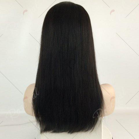 Shops Long Center Part Straight Lace Front Human Hair Wig - NATURAL BLACK  Mobile