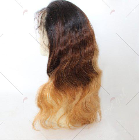 Affordable Long Colormix Free Part Loose Wave Indian Lace Front Human Hair Wig - GRADUAL BROWN  Mobile