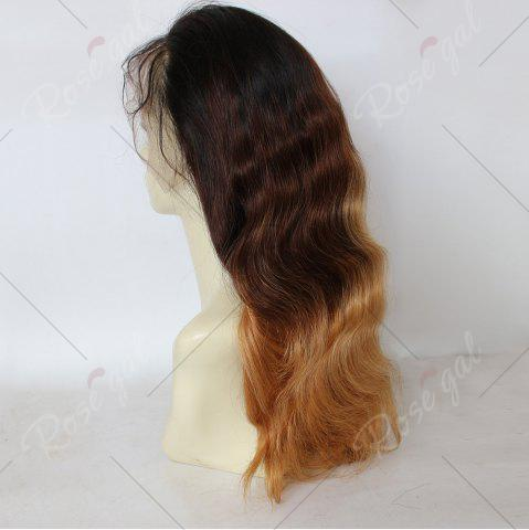 Fashion Long Colormix Free Part Loose Wave Indian Lace Front Human Hair Wig - GRADUAL BROWN  Mobile