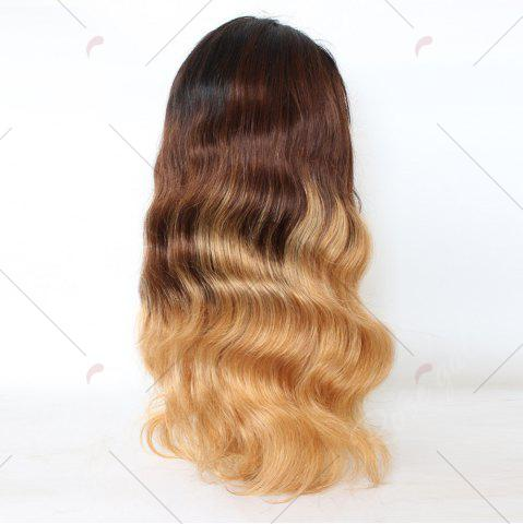 Cheap Long Colormix Free Part Loose Wave Indian Lace Front Human Hair Wig - GRADUAL BROWN  Mobile