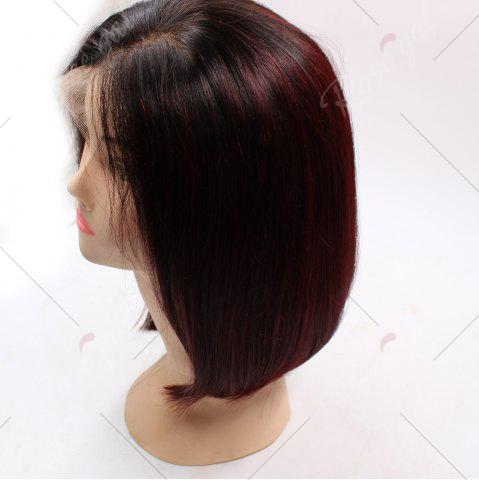 Shop Short Side Part Straight Bob Colormix Indian Lace Front Human Hair Wig - WINE RED  Mobile