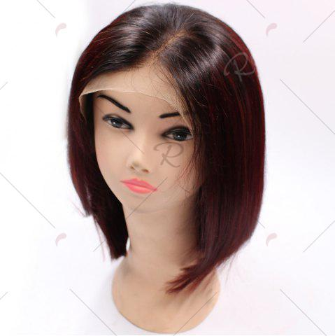 Trendy Short Side Part Straight Bob Colormix Indian Lace Front Human Hair Wig - WINE RED  Mobile