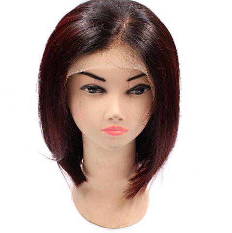 Affordable Short Side Part Straight Bob Colormix Indian Lace Front Human Hair Wig - WINE RED  Mobile