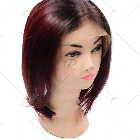 Fancy Short Side Part Straight Bob Colormix Indian Lace Front Human Hair Wig - WINE RED  Mobile