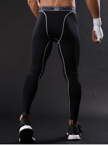 Best Graphic Elastic Waist Quick Dry Suture Stretchy Gym Pants - M GRAY Mobile