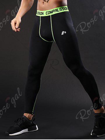 New Graphic Elastic Waist Quick Dry Suture Stretchy Gym Pants - XL GREEN Mobile