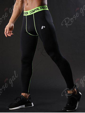 Store Graphic Elastic Waist Quick Dry Suture Stretchy Gym Pants - XL GREEN Mobile