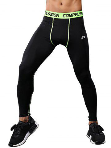 New Graphic Elastic Waist Quick Dry Suture Stretchy Gym Pants - L GREEN Mobile