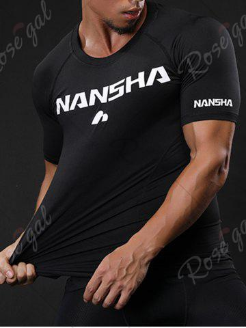 Fashion Fitted Crew Neck Stretchy Raglan Sleeve Gym T-shirt - M BLACK Mobile