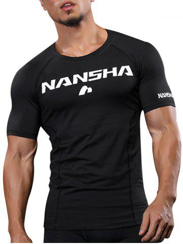 Fitted Crew Neck Stretchy Raglan Sleeve Gym T-shirt - Black - M
