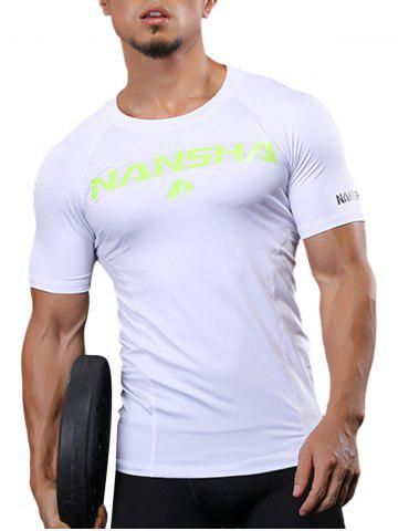 Online Fitted Crew Neck Stretchy Raglan Sleeve Gym T-shirt - 2XL WHITE Mobile