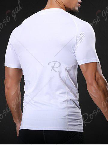 Cheap Fitted Crew Neck Stretchy Raglan Sleeve Gym T-shirt - L WHITE Mobile