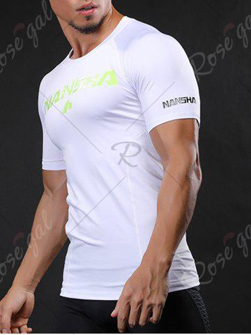 Cheap Fitted Crew Neck Stretchy Raglan Sleeve Gym T-shirt - M WHITE Mobile