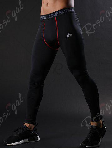 New Graphic Elastic Waist Quick Dry Suture Stretchy Gym Pants - L RED Mobile