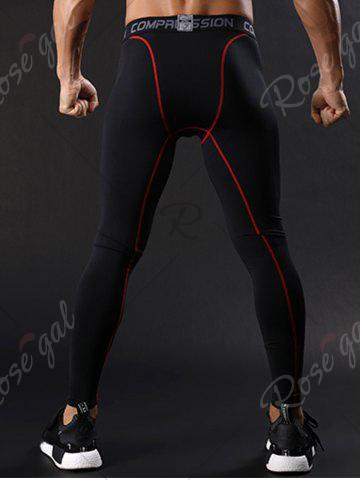 Store Graphic Elastic Waist Quick Dry Suture Stretchy Gym Pants - L RED Mobile
