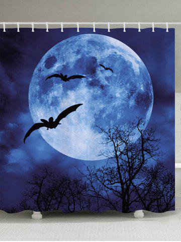 Unique Halloween Moon Bat Print Fabric Waterproof Bathroom Shower Curtain - W71 INCH * L79 INCH BLUE Mobile