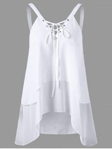 Criss Cross Front Layered Sleeveless Chiffon Blouse - White - L