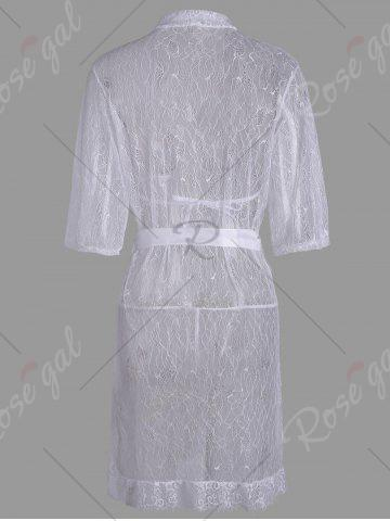 Cheap Lace Sheer Wrap Sleep Dress - ONE SIZE WHITE Mobile