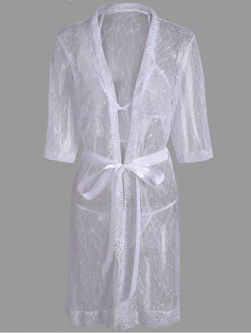 Lace Sheer Wrap Sleep Dress Blanc TAILLE MOYENNE