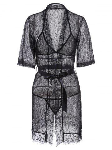 Cheap Lace Sheer Wrap Sleep Dress - ONE SIZE BLACK Mobile
