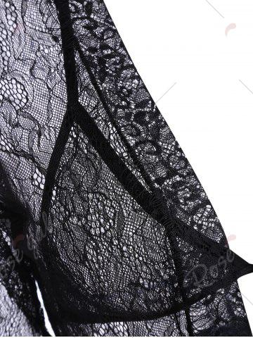 Outfits Lace Sheer Wrap Sleep Dress - ONE SIZE BLACK Mobile