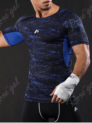 Trendy Camouflage Raglan Sleeve Quick Dry Stretchy Gym T-shirt - XL BLUE Mobile