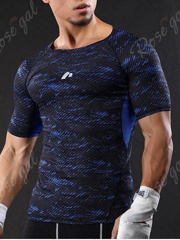Fancy Camouflage Raglan Sleeve Quick Dry Stretchy Gym T-shirt - L BLUE Mobile