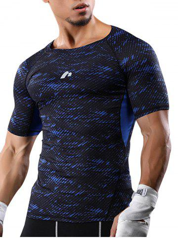 Fancy Camouflage Raglan Sleeve Quick Dry Stretchy Gym T-shirt - M BLUE Mobile