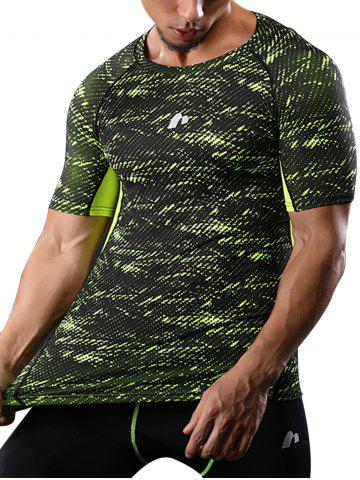 Camouflage Raglan Sleeve Quick Dry Stretch Gym T-shirt Vert 2XL