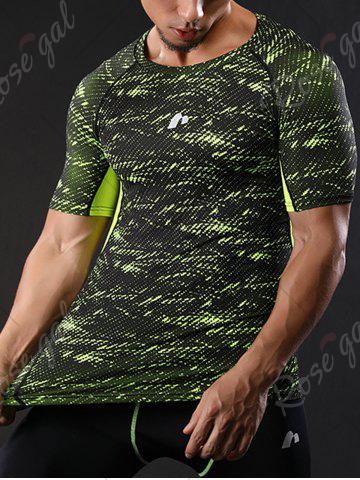 Online Camouflage Raglan Sleeve Quick Dry Stretchy Gym T-shirt - L GREEN Mobile