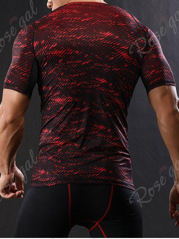 Cheap Camouflage Raglan Sleeve Quick Dry Stretchy Gym T-shirt - M RED Mobile