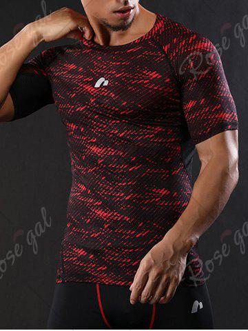Affordable Camouflage Raglan Sleeve Quick Dry Stretchy Gym T-shirt - M RED Mobile